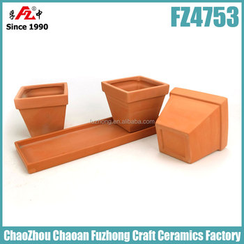 Small And Rectangular Clay Planter With Saucer