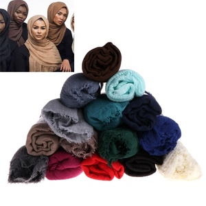 Cotton linen scarves fashion crumpled long scarf Muslim Dubai hijab scarf women hijab best price Yiwu Xi Meng