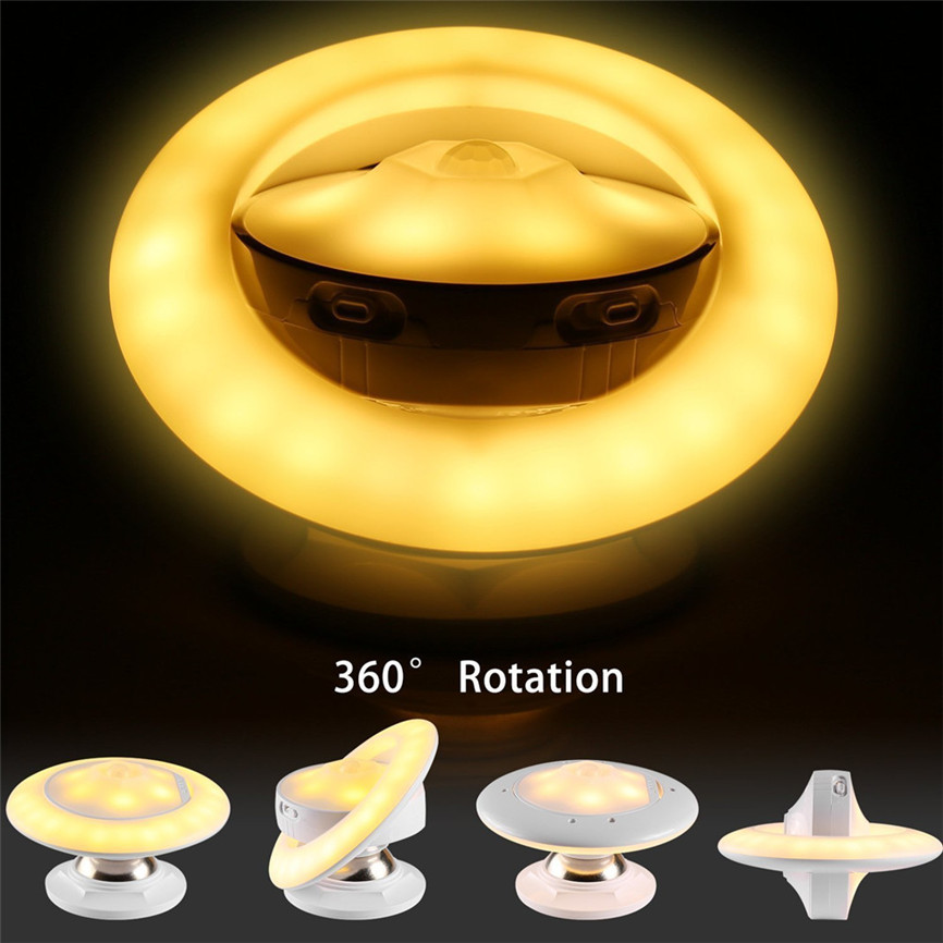 Magnetic UFO Shaped LED Motion Sensor Night Light with Wireless LED