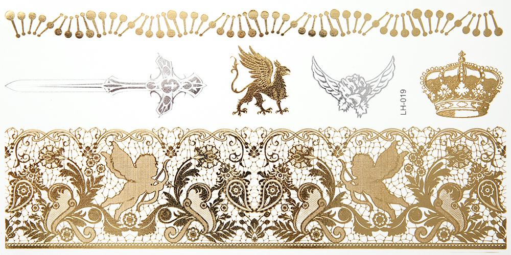 Женский золотой и серебряный металлический временный стикер татуировки