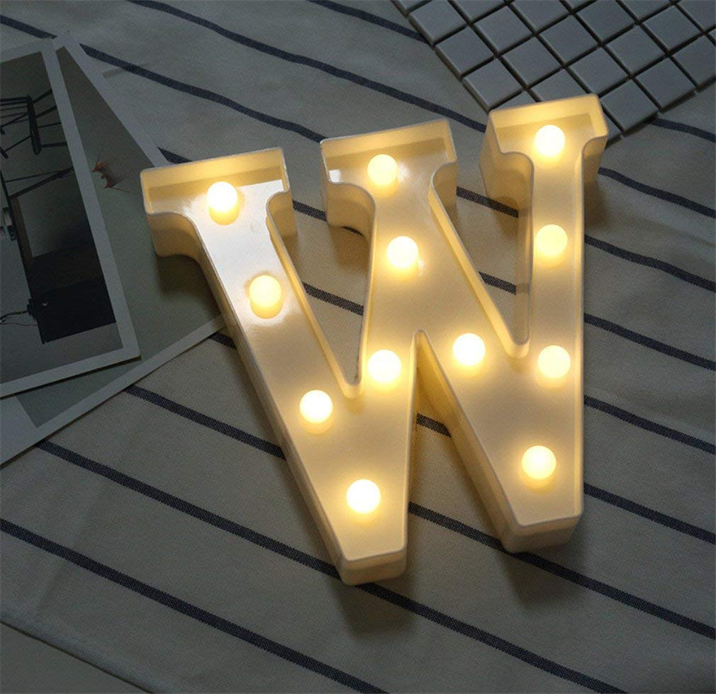 LUCKY CLOVER-A Alphabet Light Letter Lights LED Light Up White Plastic Letters Standing Hanging A-Z & 0-9 Shape Marquee Decoration Light Battery Operated Mood Light,W