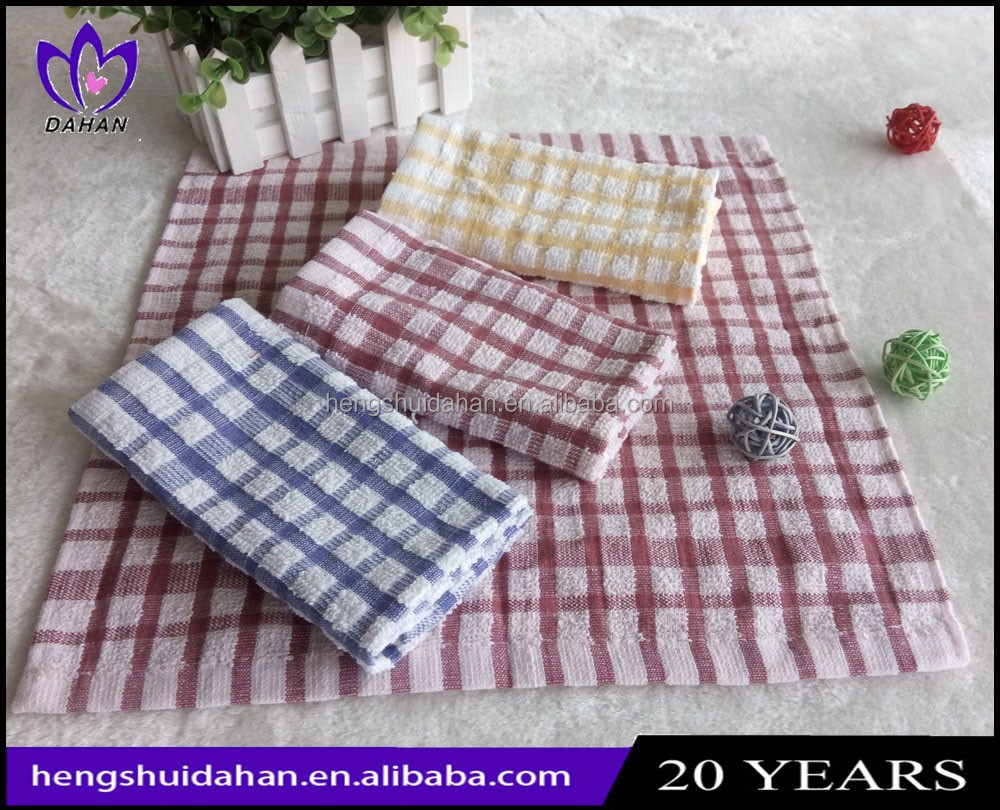 China supplier manufacturer small size loop pile kitchen dish cloth 100%cotton yarn dyed gird terry towel