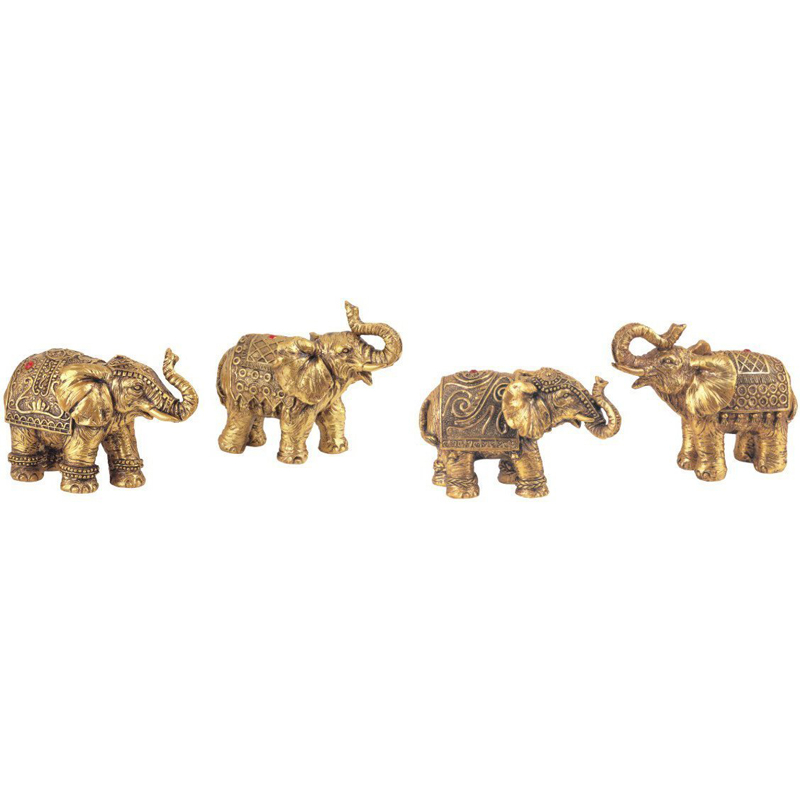 Collectible Standbeeld Ployresin Gold Olifant