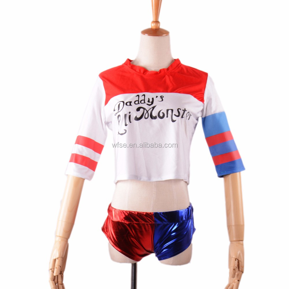2016 cosplay Suicide Squad Harley Quinn costume halloween costumes for women Unisex 3/4 Sleeve daddy's lil monster girls t-shirt