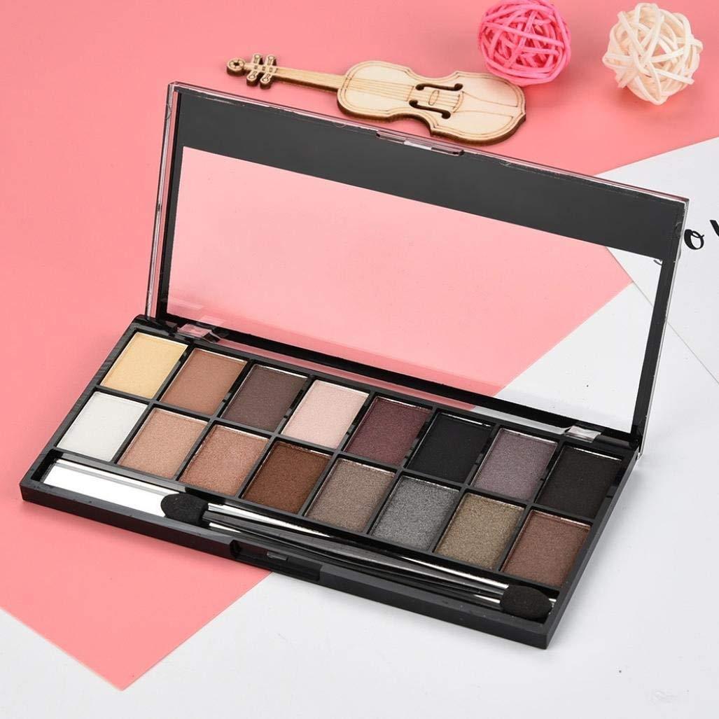 Clearance Sale! Exteren 16 Colors Pearl Matte Eyeshadow Eye Shadow Palette & Makeup Cosmetic Brush Set Makeup Eyeshadow Palette Eye Makeup (B)