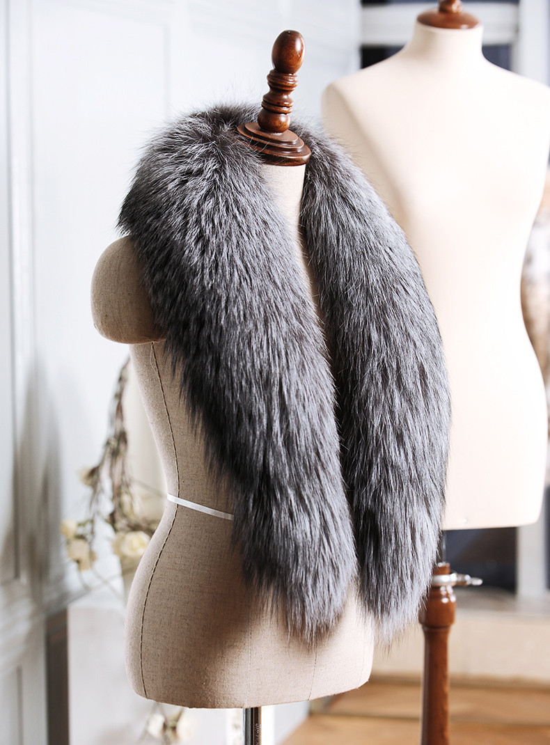 Long Wool Cashmere Vest with Big Fox Fur Collar