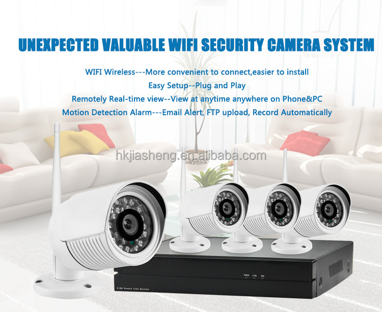 POE NVR Kit 4 channel 720P optional lens nvr Hikvision outdoor IP66 wireless 4CH NVR ip camera