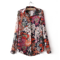 best-selling western style ladies flower printed vintage blouse tops