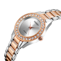 jam tangan skmei 1262 quartz movement stainless steel back rose gold womens watch