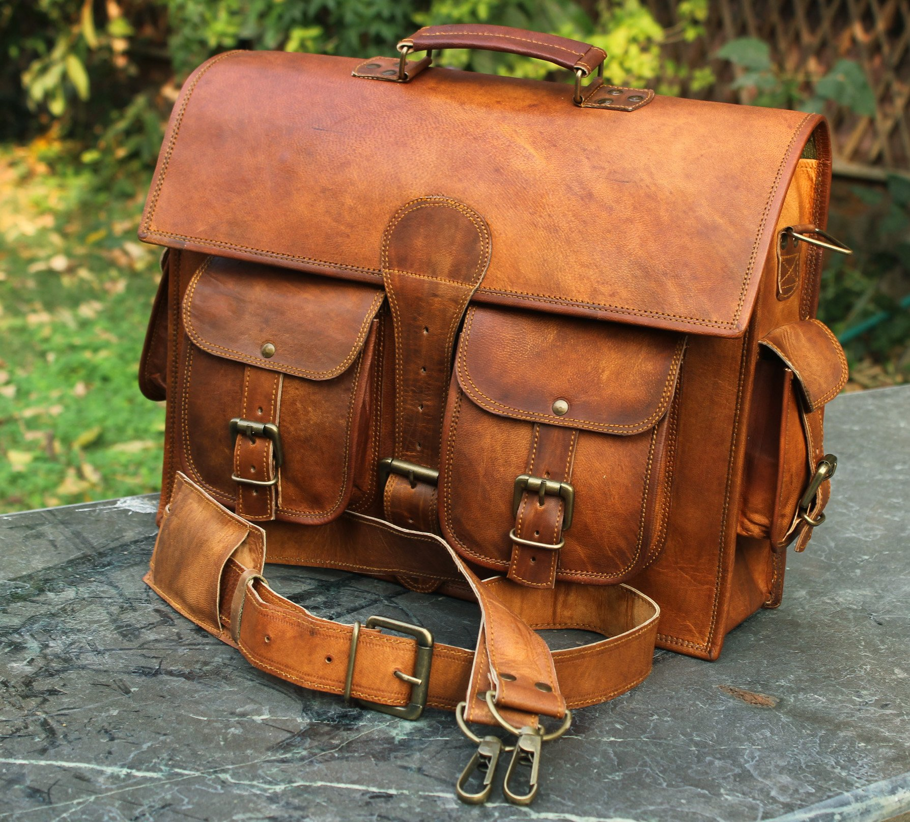 Handmadecraft Leather Unisex Real Leather Messenger Bag for Laptop Briefcase Satchel ...