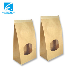 General Packaging Laminated Plastic Flat Bottom Kraft Paper Bag