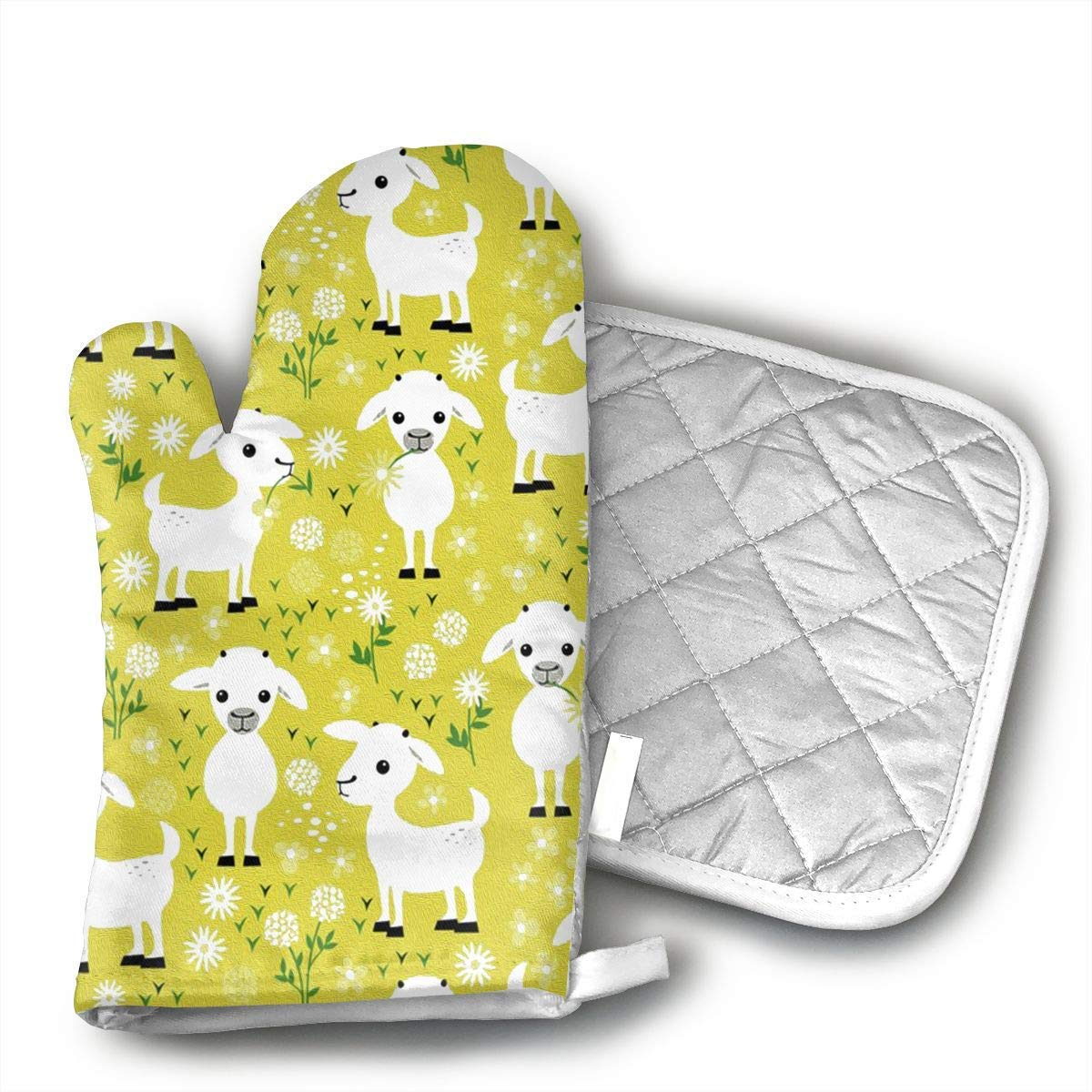 KUGUANG Yellow Baby Goats@Oven Mitts, Non-Slip Silicone Oven Mitts, Extra Long Kitchen Mitts, Heat Resistant to 500!aF Kitchen Oven Gloves