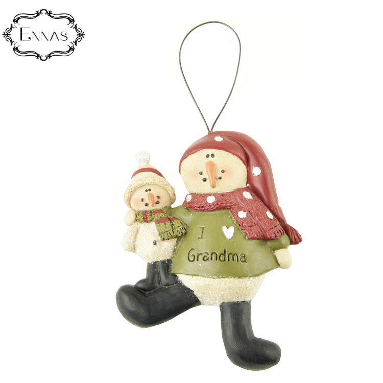 Grandfather and grandson resin figurine ornaments