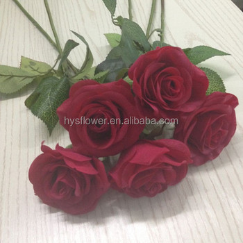 Super Single Stem Realistic Real Touch Red Rose,Wedding Centerpiece ...