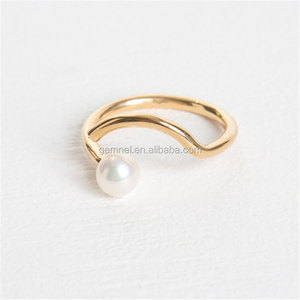 latest popular jewelry fashion pearl wholesale gold filled rings