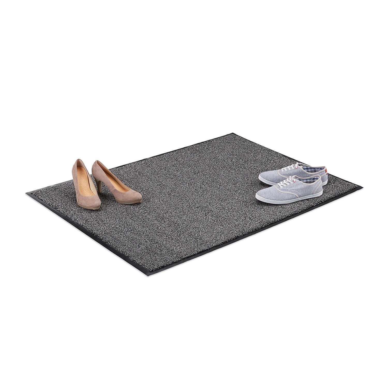 Relaxdays Gray Dirt Trapping Mat, Indoor Doormat, Large Dirt Catcher, Thin Door Mat, 90x120 cm, Black-Gray