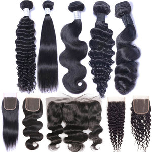 Peruvian Brazilian Malaysian Indian Water Loose Deep Body Wave Kinky Curly Straight Virgin Human Hair 3 Bundles With Closure