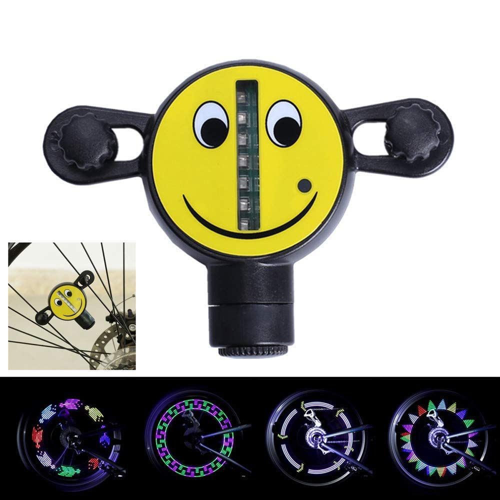 Glumes Smiling Face Bike Wheel Lights, LED Waterproof Bicycle Spoke Light 7 LED 30 Modes Bicycle Rim Tire Lights for Mountain Bike/Road Bikes/BMX Bike/Hybrid Bike/Folding Bike Good Gifts (Black)