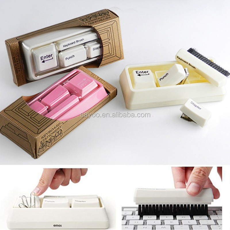 Hot Sale desk top teclado papelaria set com escova mini e mini grampeador