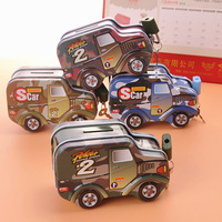 High Quality Customized Military Vehicle Shaped Mini Coin Pruse/ Money Bank Tin Box with Lock