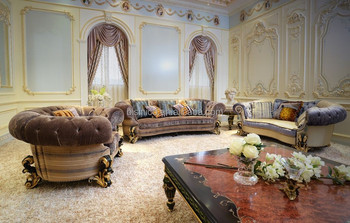 Elegant French New Classic Fabric Upholstered Sectional Sofa / Luxury  Palace Hand Carved Wooden Living Room