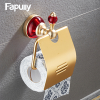 Fapully ruby bathroom accessories set space aluminum gold plated Soporte para papel Toilet