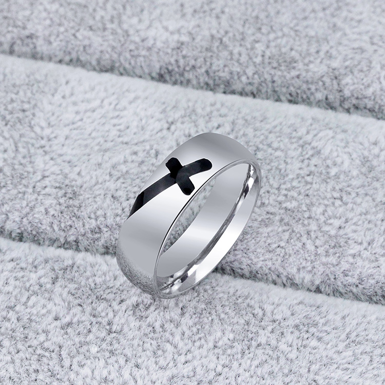 Mens Womens Unisex Simple Style Stainless Steel Couple 6mm Cross Ring Silver Color
