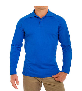 Byval Comfortably Collared Men's Perfect Long Sleeve Soft Fitted Polo Shirt