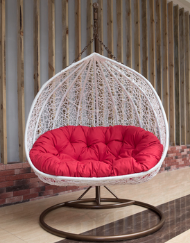 Charming Outdoor Double Rattan Swing Hanging Chair For Two Person