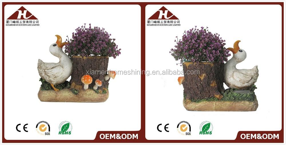 resin duck garden planter with led light