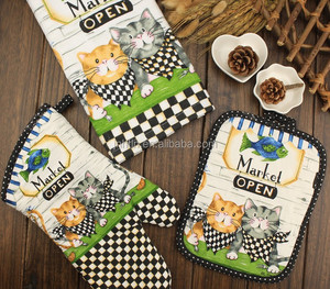 Kitchen Oven Mitt Glove Pot Holder Set