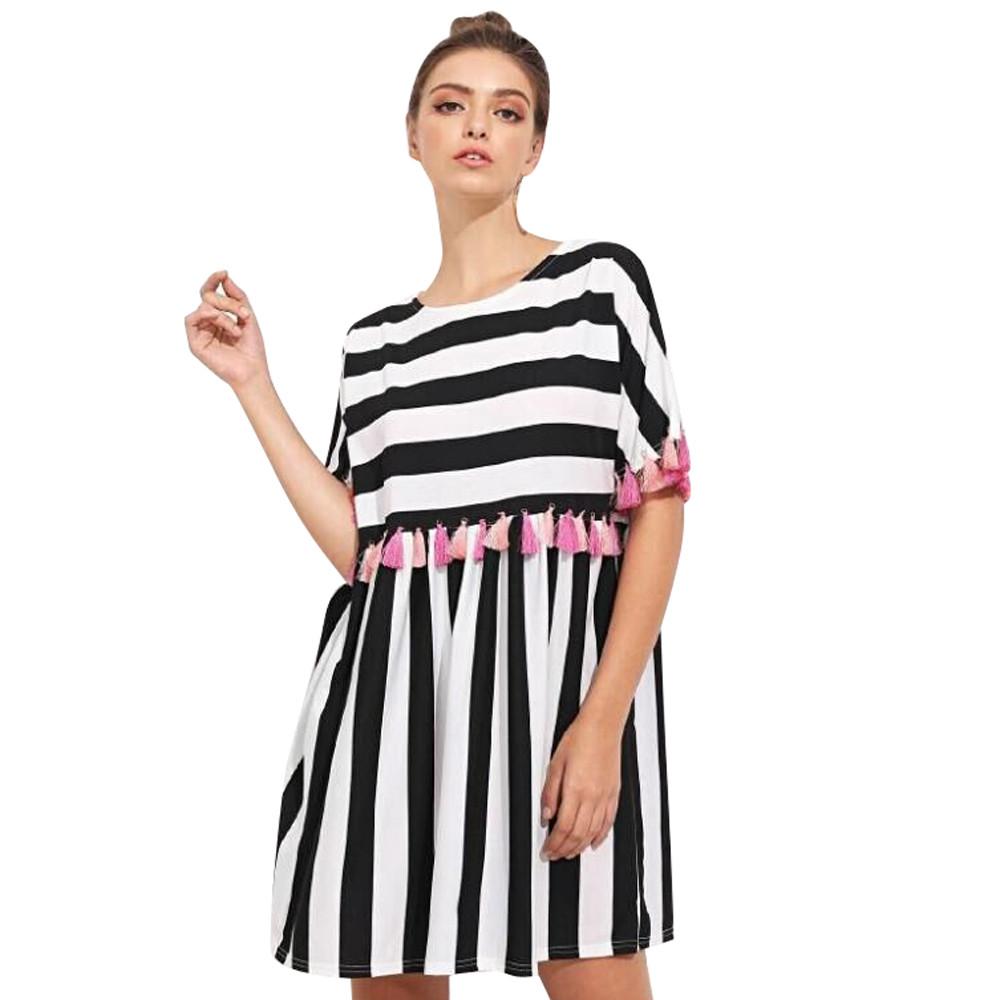 b04f4523bc5b1 Feitong Ladies Fashion Dress Women's Stripe Print Short Sleeve Multicolor  Tassel Dress Casual Mini Simple Dress Elegant vestido