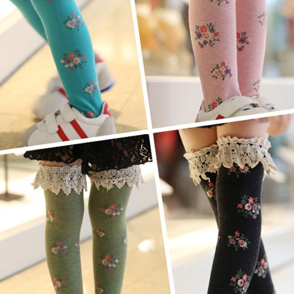PHB10893 cetakan bunga lace potong gadis Korea fashion ketat stocking