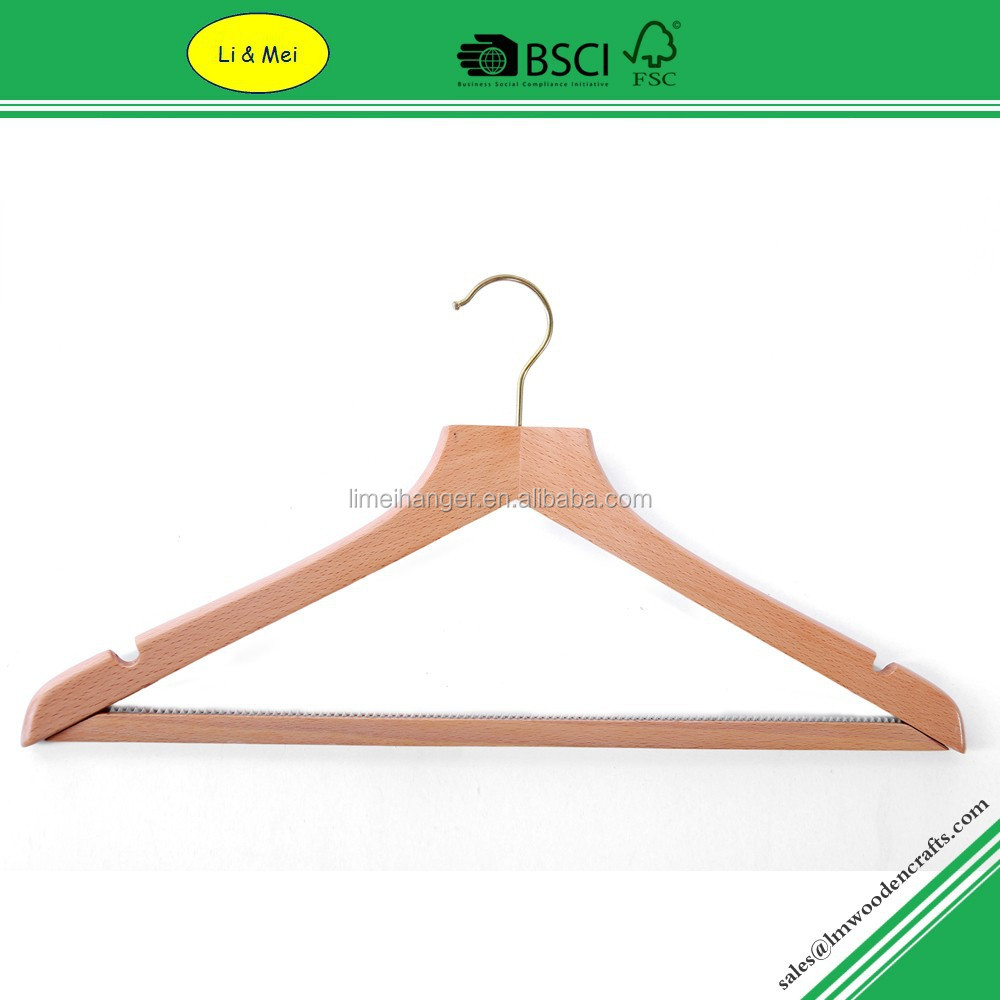 LM3004 Flat Head With Anti-slip Bar Wood Stick For Clothes Hanger