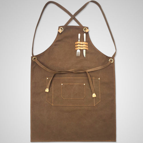 2018 High quality black vintage canvas leather work apron