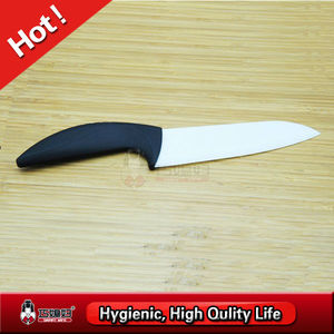 Black tpr coating handle chef knife with white blade