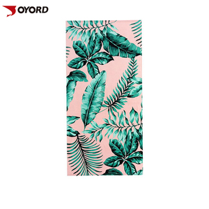 China products custom sublimation printed palm leaf pattern sand free suede microfiber beach towel fabric wholesale