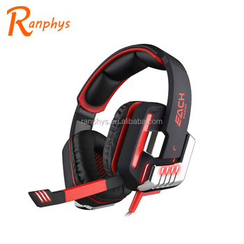 Ranphys wholesale mega bass game headset 7.1 wired computer mic headphone