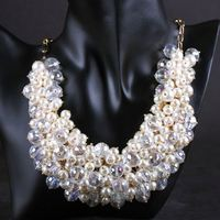 Wholesale Handmade Crystal Imitation Pearl Cluster Bib Chunkys Necklace