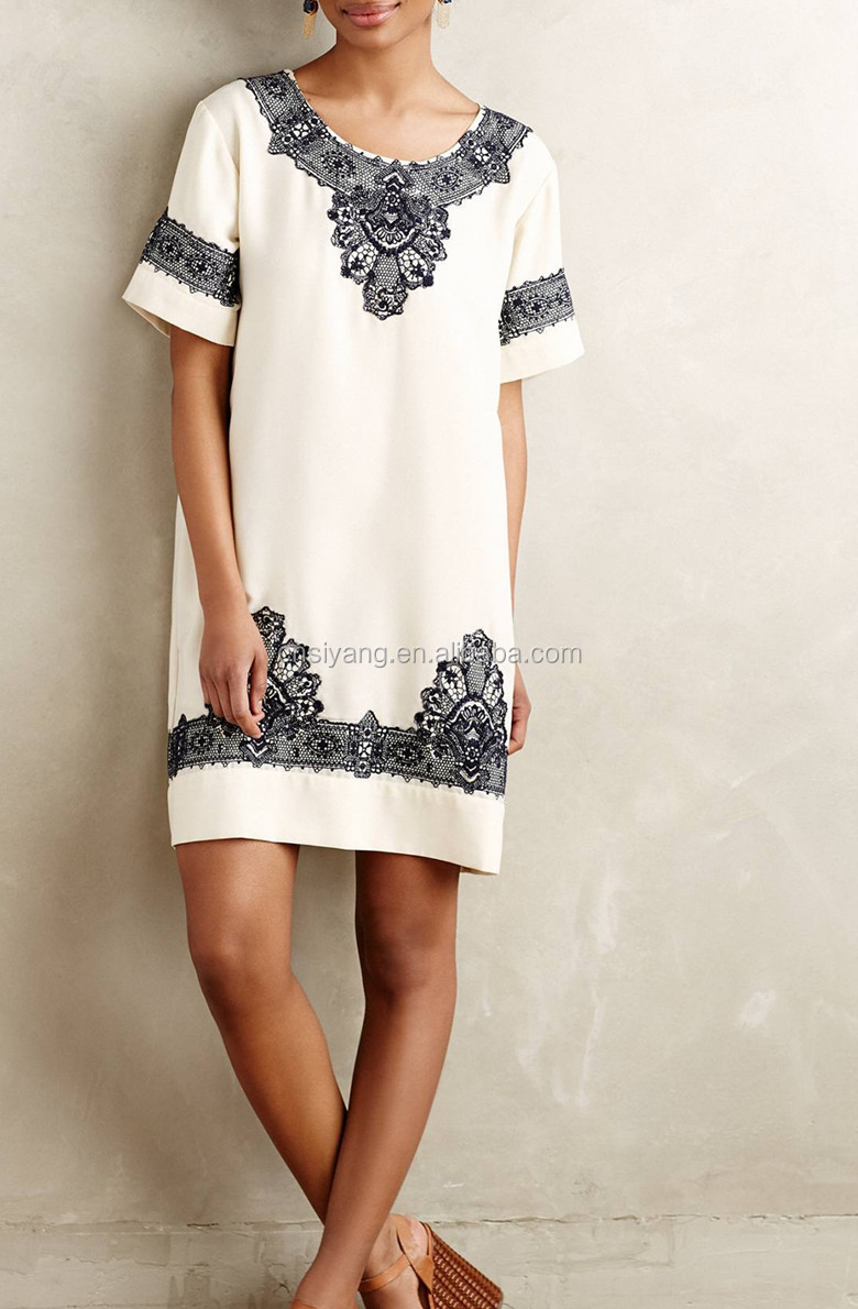 2015 Woman Summer Dress Pattern,Short Sleeve Embroidered Lace ...