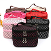 Polka Dots Double Layer Dual Zipper Cosmetic Hand Case Bag Travel Make up Toiletry bag
