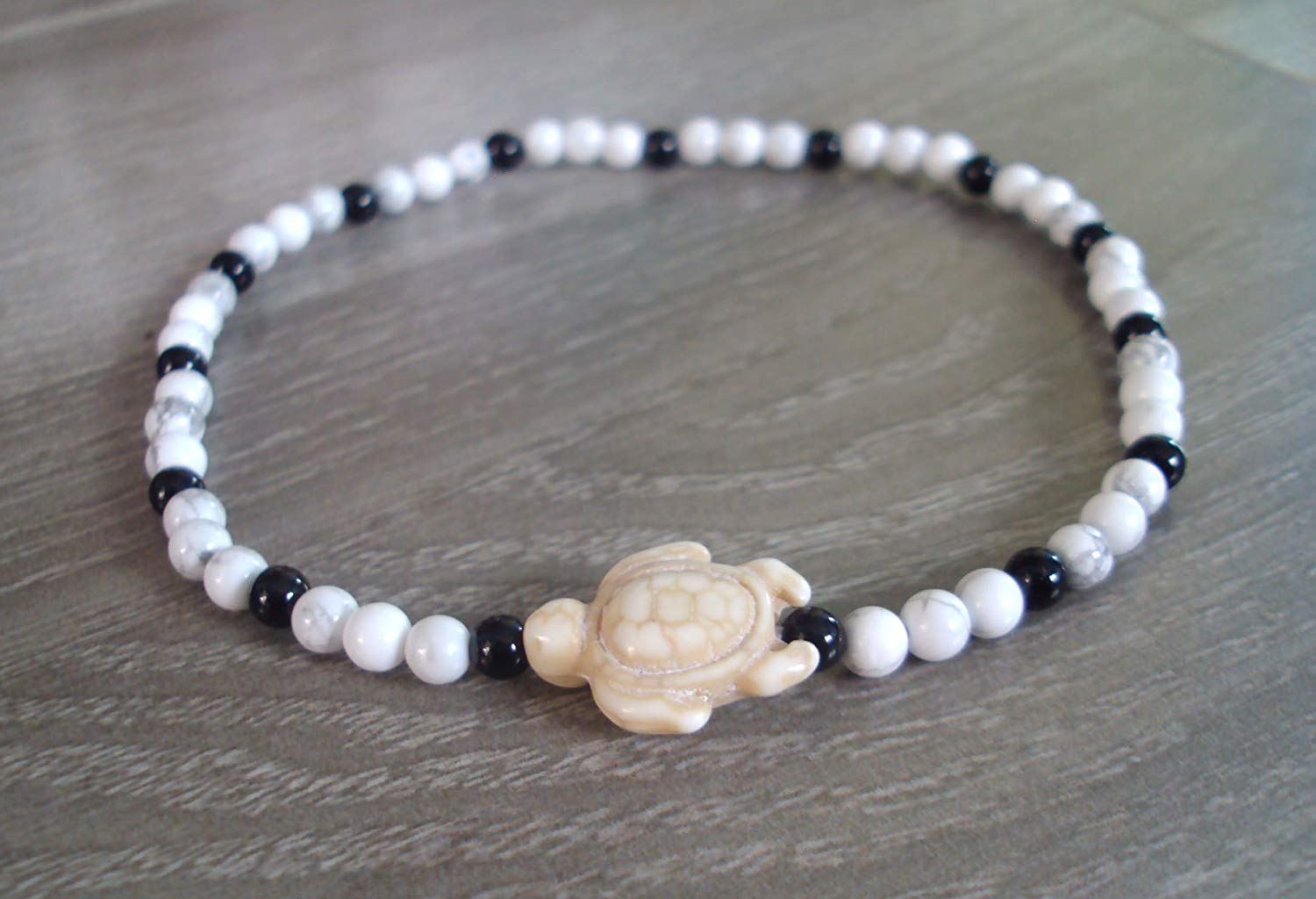 Turtle howlite stone anklets for men and women,onyx anklets,black-white anklets,beaded anklets,gift anklets,fashion anklets
