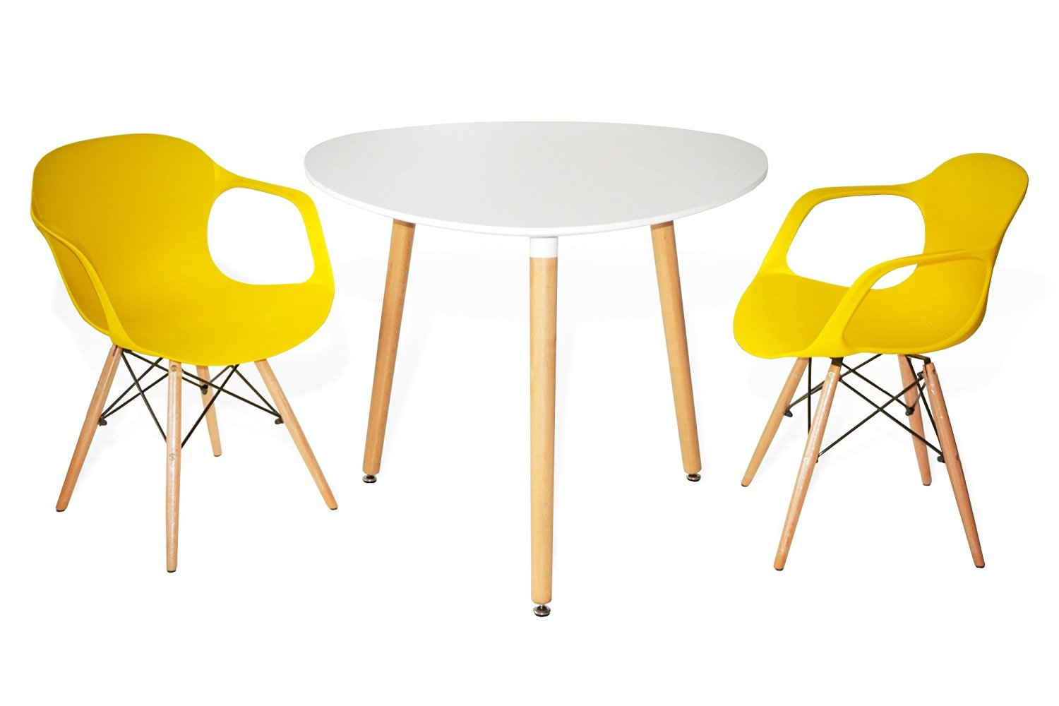 3-Piece Contemporary Plastic Dining Set: White Rounded Triangle Table with Modern Plastic Armchairs (variety of colors) (Yellow)