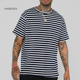 MGOO Stripes Short Sleeve Oversize Tee Blue White Custom Stripe Oversized Fit Drop Shoulder 100% Cotton T Shirt