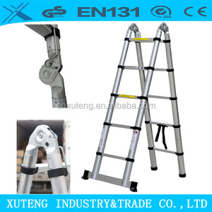 aluminium a type double telescopic stair ladder 3.8m retractable loft ladder