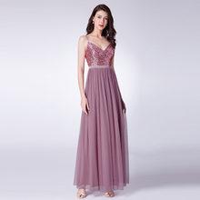Длинные платья для выпускного вечера 2020 EP07455OD, элегантные платья трапециевидной формы с v-образным вырезом, тюлевые Свадебные платья с блест...(China)