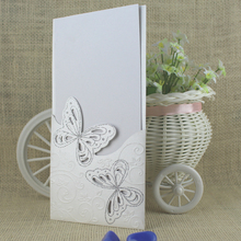 T423 Hot Sale Elegant Double Butterfly Wedding inviation cards with Envelope