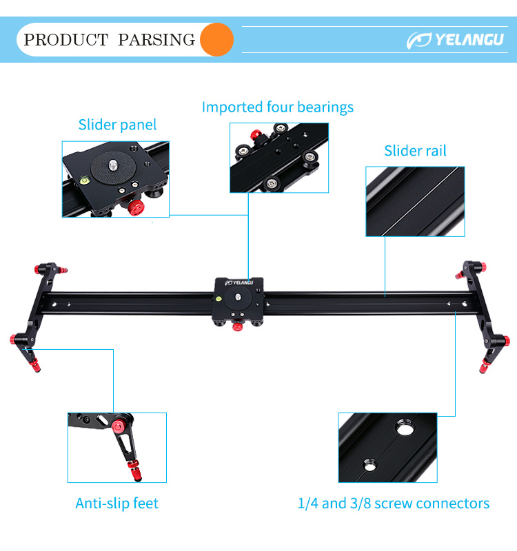 YELANGU 80m Ball Bearing Pro DSLR Camera Slider Dolly Track for DSLR Camera