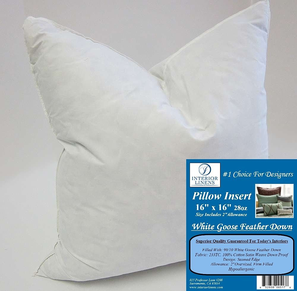 """16"""" x 16"""" 28oz. Pillow Insert: 90/10 White Goose Feather Down - 2"""" Oversized & Firm Filled (Actual Size: 18""""x18"""")"""