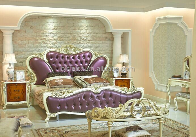 European Style King Size Bed Elegant Purple Wood Carving Royal Bedroom Furniture Set Bf01 Ml027 View Beds Bisini Product Details
